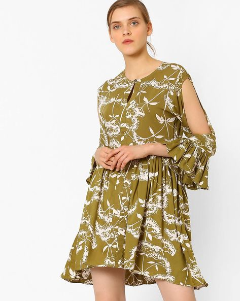 Printed Skater Dress With Gathers By Vajor ( Green )