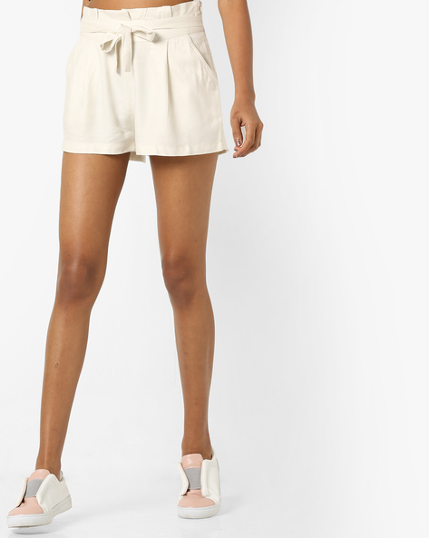 Mid-Rise Shorts With Tie Up By RIO ( Beige )