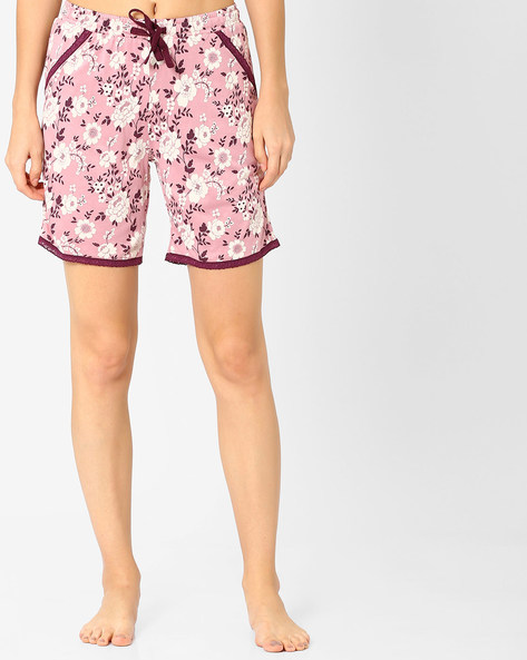 Printed Shorts With Lace Detail By Jockey ( Multicolour )