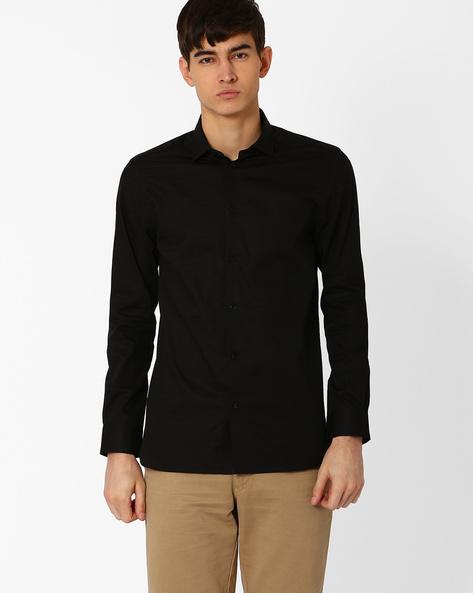 Cotton Shirt With Self-Design By Jack & Jones ( Black )