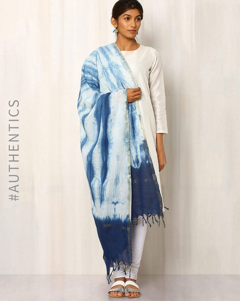 Hand Block Print Indigo Cotton Dupatta By Indie Picks ( Multi )