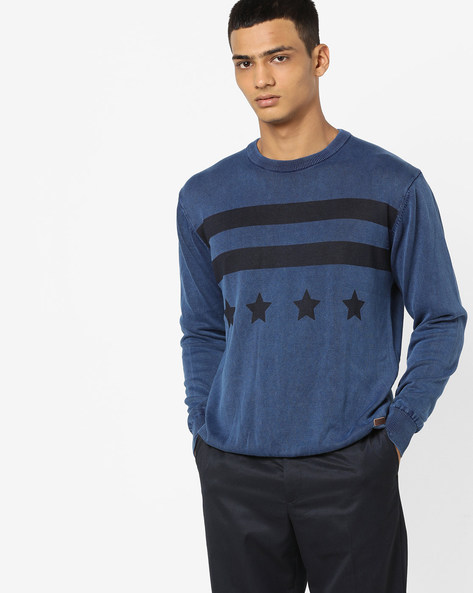 Printed Crew-Neck Pullover With Ribbed Hems By US POLO ( Indigo )