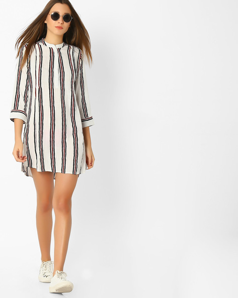 Striped Tunic With Mandarin Collar By FIG ( Offwhite )