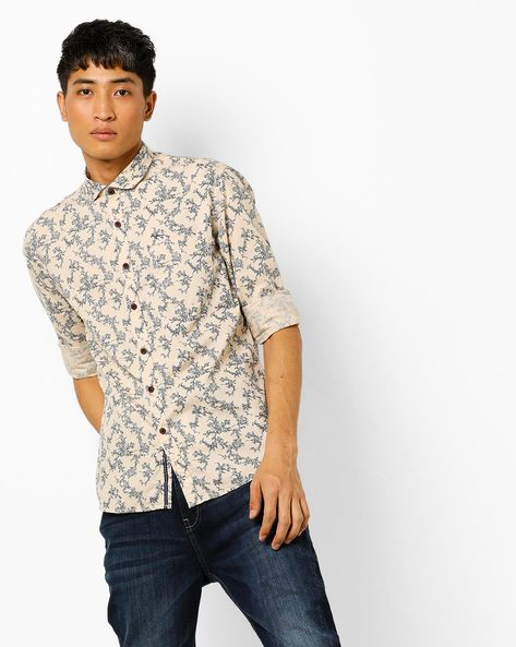 Floral Print Slim Fit Shirt With Patch Pocket By FLYING MACHINE ( Beige )