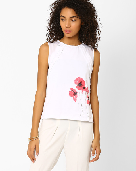 Panelled Top With Floral Print By AJIO ( White )