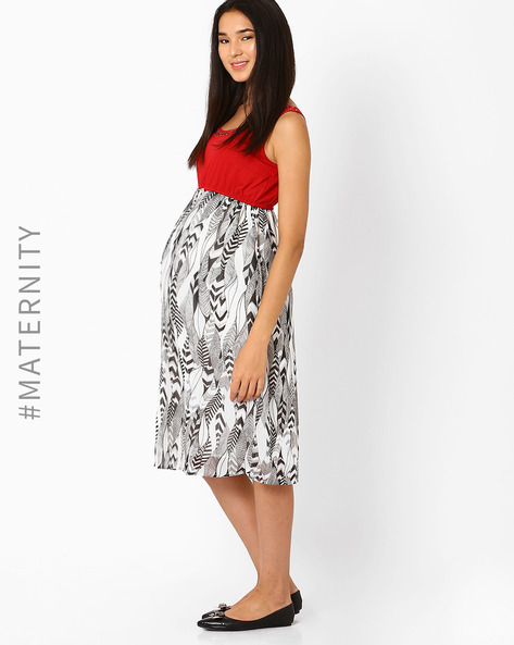Printed Maternity Dress By Preggear ( Multicolour )