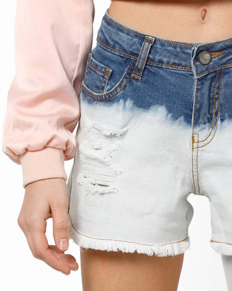 Distressed Colourblock Denim Shorts By AJIO ( Lightblue )
