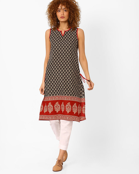 Printed Straight Kurta With Side Slits By SIYAHI ( Black )