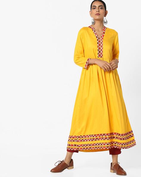A-line Midi Dress With Pleated Waist By AJIO ( Mustard )