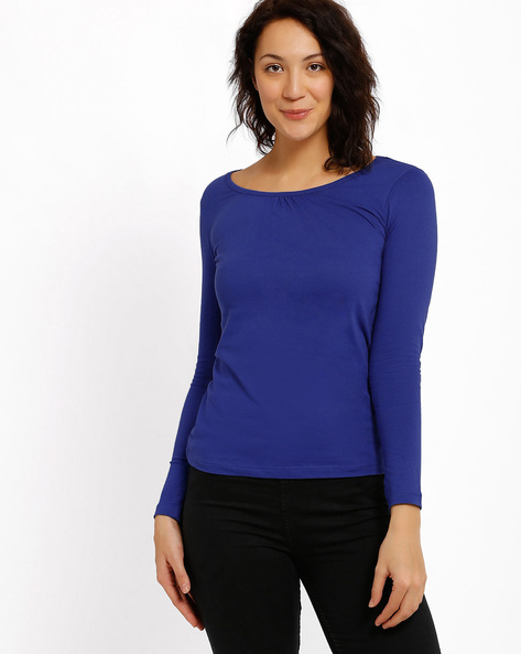 Cotton T-shirt By Ajile By Pantaloons ( Blue )