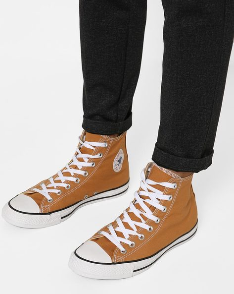 High-Top Canvas Lace-Up Shoes By CONVERSE ( Brown )
