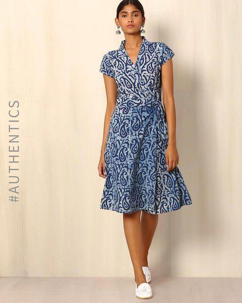 Indigo Handblock Print Cotton Wrap Dress By Ek Taara ( Blue )