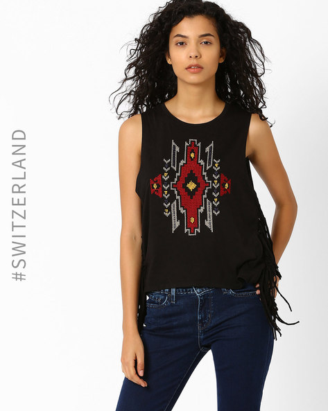 Embellished Top With Fringes By TALLY WEiJL ( Black )