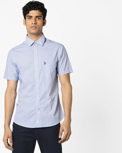 Ditsy Print Shirt With Patch Pocket By US POLO ( Assorted )