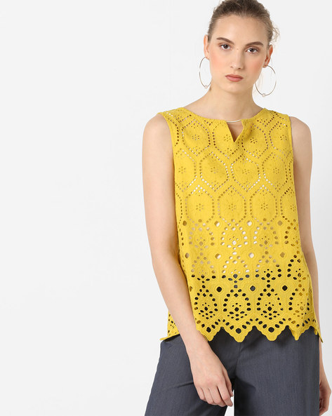 Sleeveless Schiffli Top By AJIO ( Yellow )