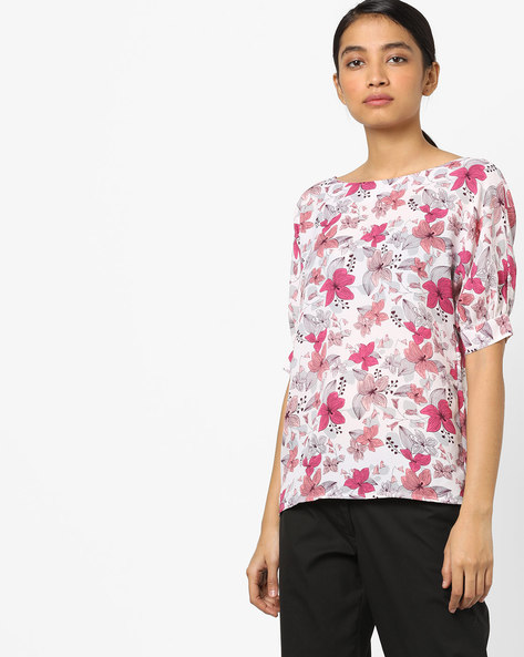 Floral Print Top With Puff Sleeves By AJIO ( Pink )