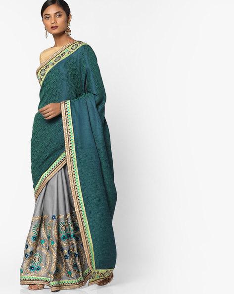Floral Embroidered Half & Half Saree By Shonaya ( Green )