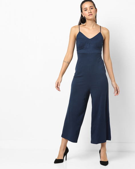 Strappy V-neck Jumpsuit With Ruching By Ginger By Lifestyle ( Navy )