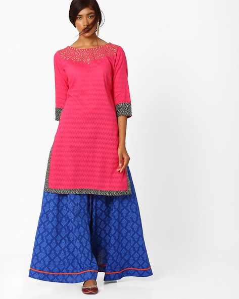 Embroidered Cotton Kurta With Lehenga By AJIO ( Pink )