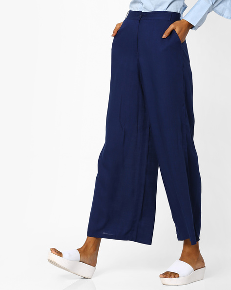 Flat-Front Pants With Slip Pockets By AJIO ( Blue )