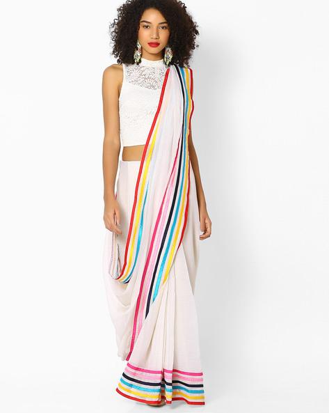 Saree With Contrast Stripes By Vastrangi ( White )
