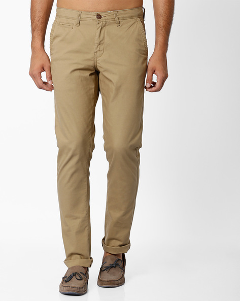 Mid-Rise Slim Fit Chinos By NETPLAY ( Khaki ) - 440690793044