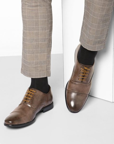 N9-Treated Genuine Leather Lace-Up Formal Shoes By AJIO ( Tan )