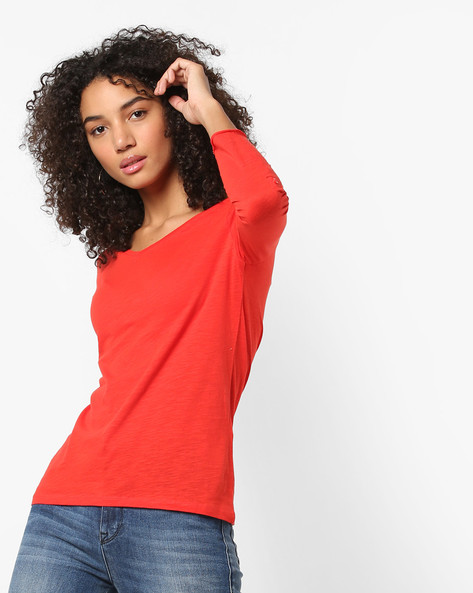 V-neck Cotton Top With Roll-Up Tabs By Only ( Redorange )