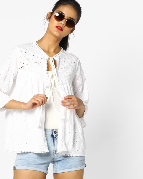 Cotton Shrug With Schiffli Embroidery By Project Eve WW Casual ( Offwhite )