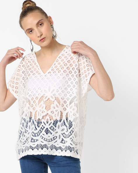 V-neck Top With Cutouts By SAINT TROPEZ ( White )
