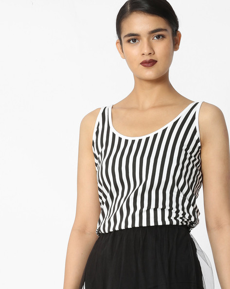 Striped Sleeveless Top By Blue Saint ( Multi )