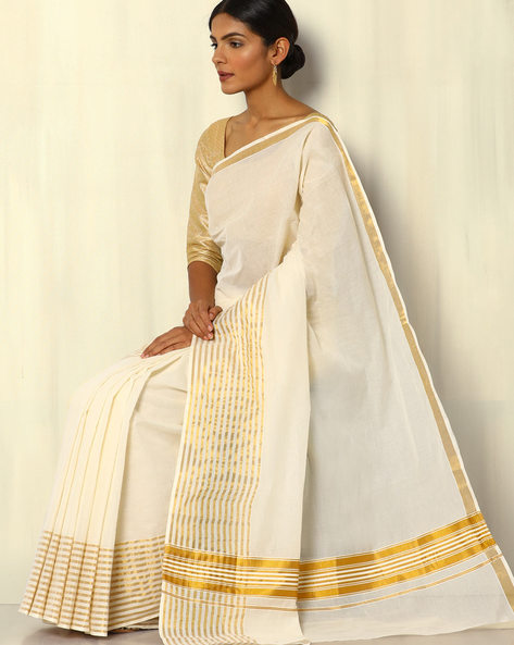 Kerala Kasavu Cotton Saree With Stripe Border By Indie Picks ( Offwhite )