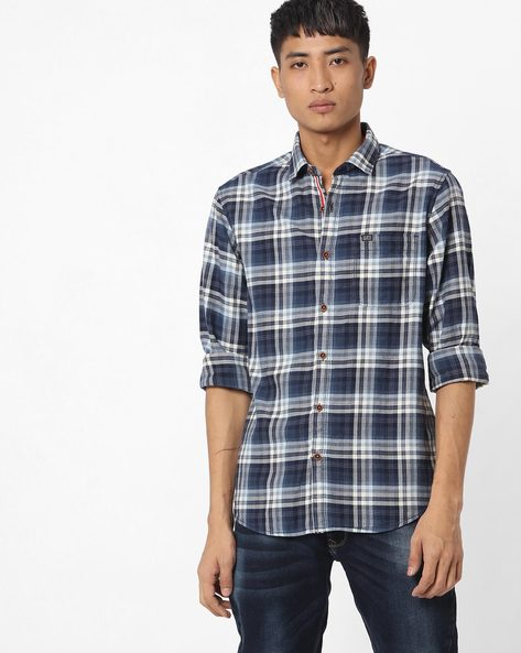 Slim Fit Checked Shirt With Patch Pocket By The Indian Garage Co ( Navy ) - 460191601004