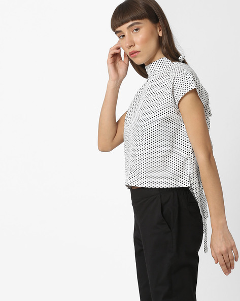 Polka-Dot Print Top With Back Tie-Up By ISU ( White )
