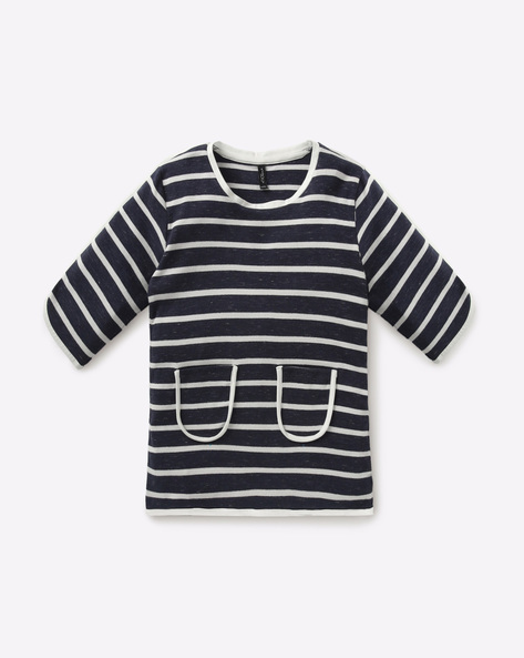 Striped Top With Patch Pockets By RIO GIRLS ( White )