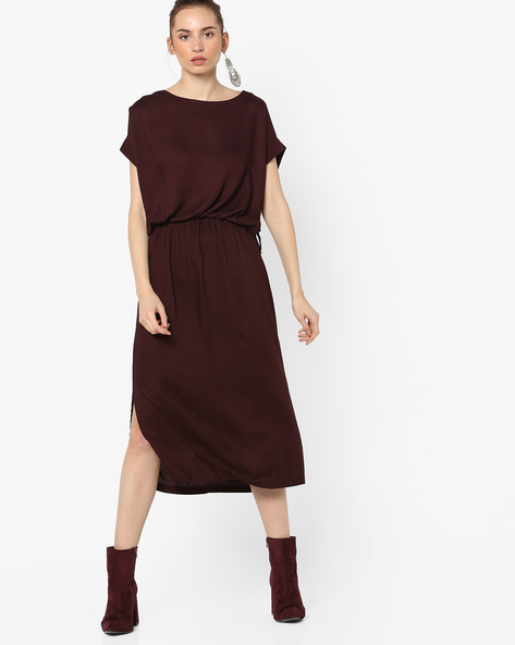 A-line Midi Dress With Waist Tie-Up By Tokyo Talkies ( Burgundy )