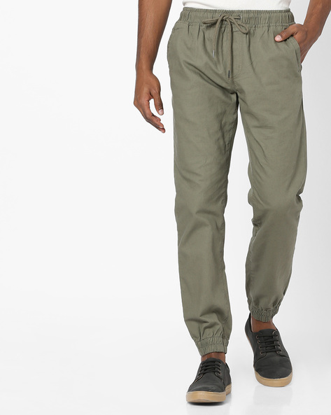 Linen Joggers With Elasticated Waist By NETPLAY ( Olive )