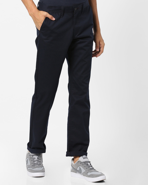 Flat-Front Slim Fit Trousers By BASICS ( Navy )