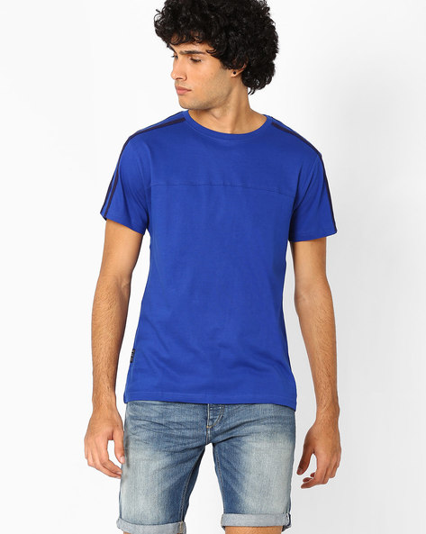 Cotton Slim Fit T-shirt By Blue Saint ( Aqua )