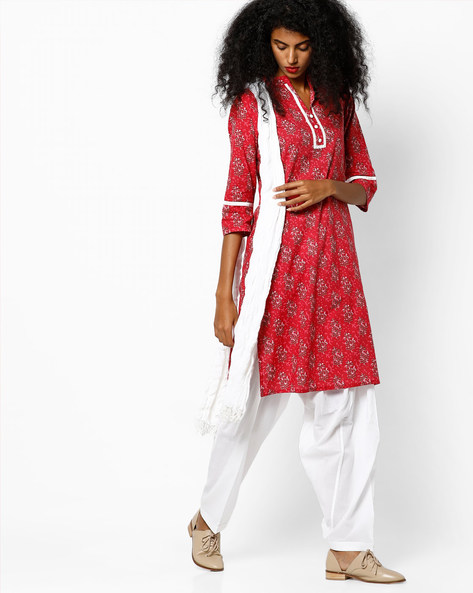 Printed Kurta With Patiala Pants And Dupatta By Jaipur Kurti ( Pink )
