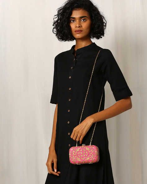 Raw Silk Box Clutch With Zari Embroidery By Molcha ( Pink )
