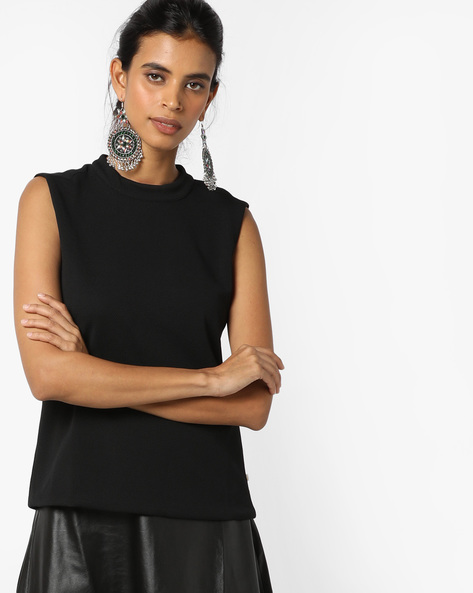Sleeveless Top With Cutouts By UNITED COLORS OF BENETTON ( Black )