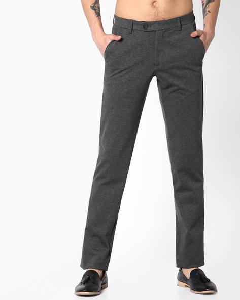 Flat-Front Slim Fit Trousers By NETWORK ( Medgrey )