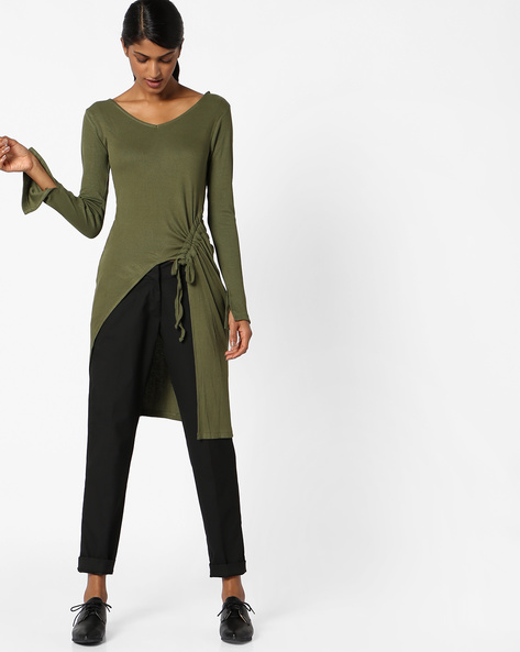 Long Top With Tie-Up By AJIO ( Olive )