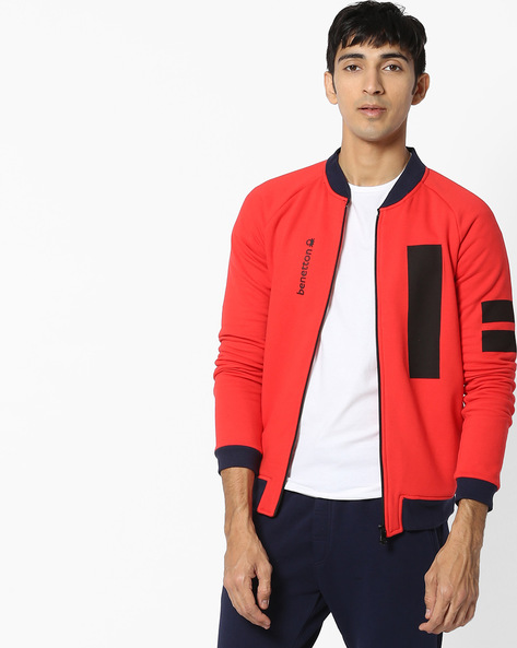 Zip-Front Sweatshirt With Contrast Panels By UNITED COLORS OF BENETTON ( Red )