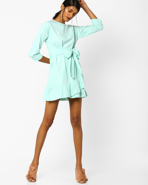 Mini Dress With Ruffled Hemline By AJIO ( Aqua )