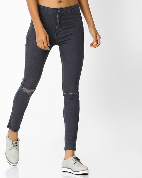 Slim Fit Distressed Jeans By Blue Saint ( Grey )