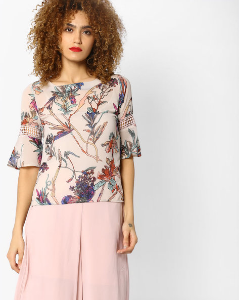 Floral Print Top With Crochet Inserts By CODE By Lifestyle ( Offwhite )