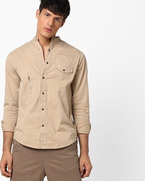 Slim Fit Shirt With Mandarin Collar By Blue Saint ( Beige )