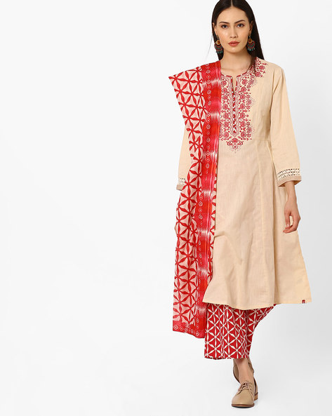 Embroidered Kurta With Palazzo Pants And Dupatta By Biba ( Offwhite )